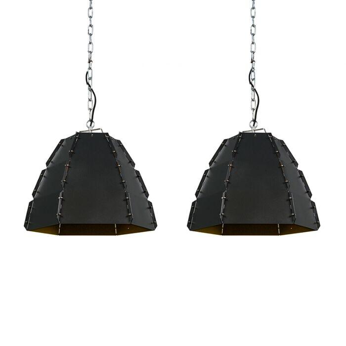 Set-van-2-design-hanglampen-zwart---Niro