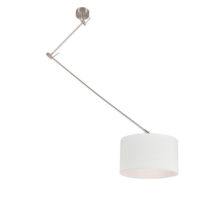 Hanglamp-staal-met-kap-35-cm-wit-verstelbaar---Blitz-I