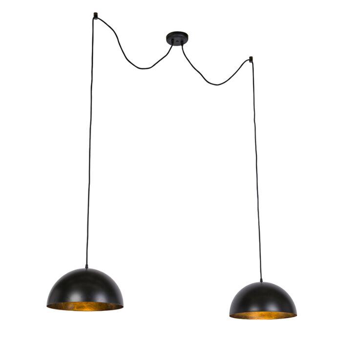 Industriële-hanglampen-zwart-met-goud-35-cm-2-lichts---Magna-Basic
