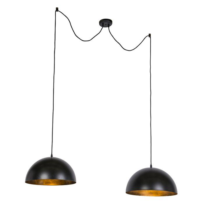 Industriële-hanglampen-zwart-met-goud-50-cm-2-lichts---Magna-Basic