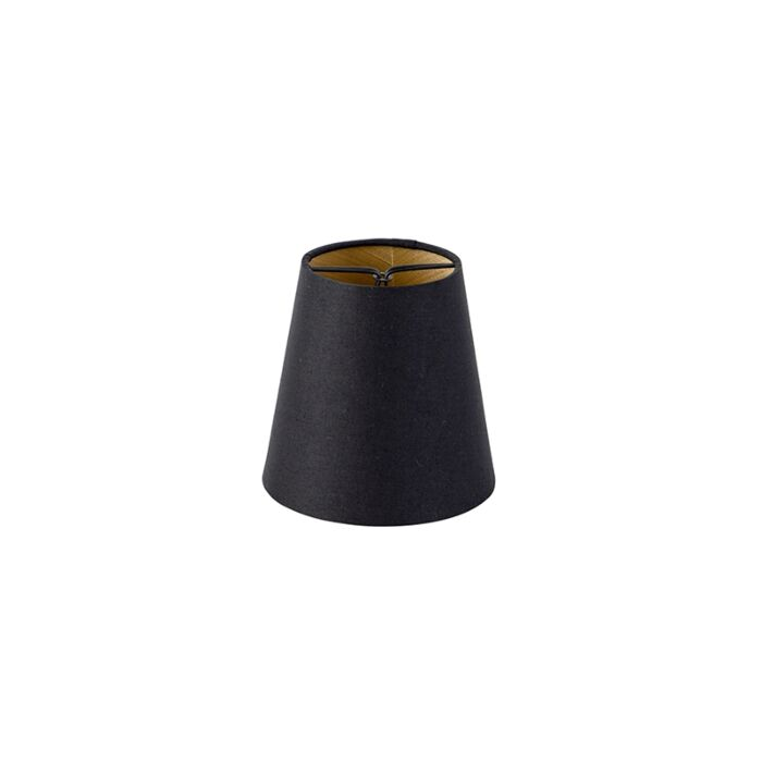 Katoenen-klemkap-zwart-12-cm-rond-met-gouden-binnenkant