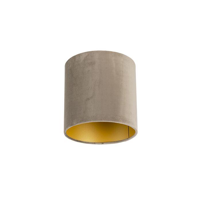 Velours-lampenkap-taupe-20/20/20-met-gouden-binnenkant