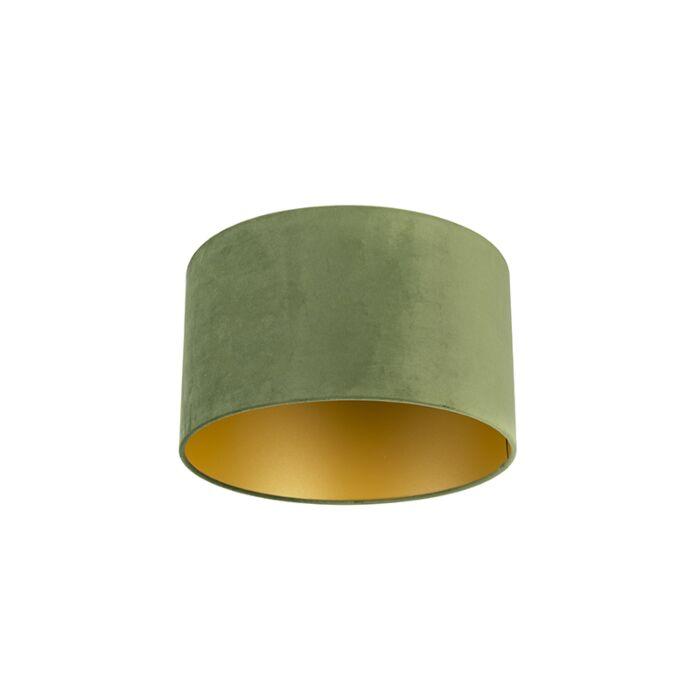 Velours-lampenkap-groen-35/35/20-met-gouden-binnenkant