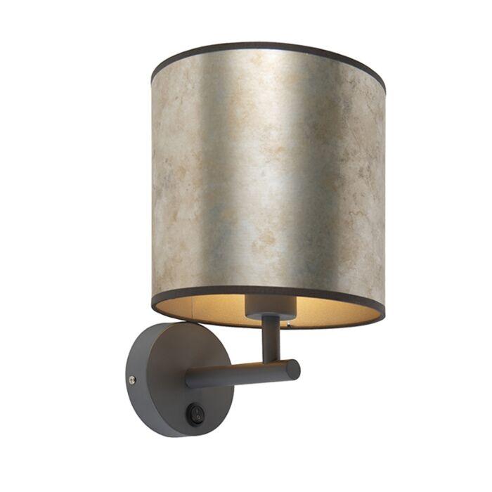 Vintage-wandlamp-donkergrijs-met-zinken-kap---Matt