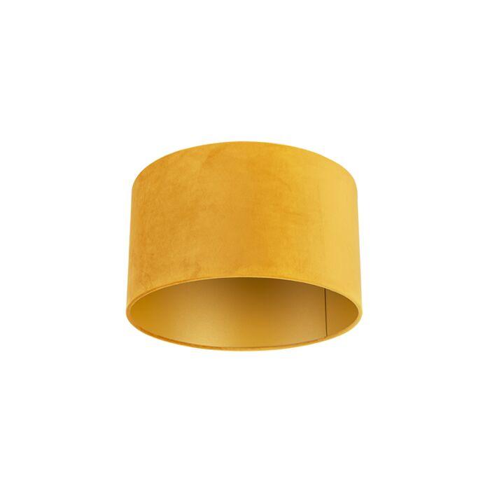 Velours-lampenkap-geel-35/35/20-met-gouden-binnenkant