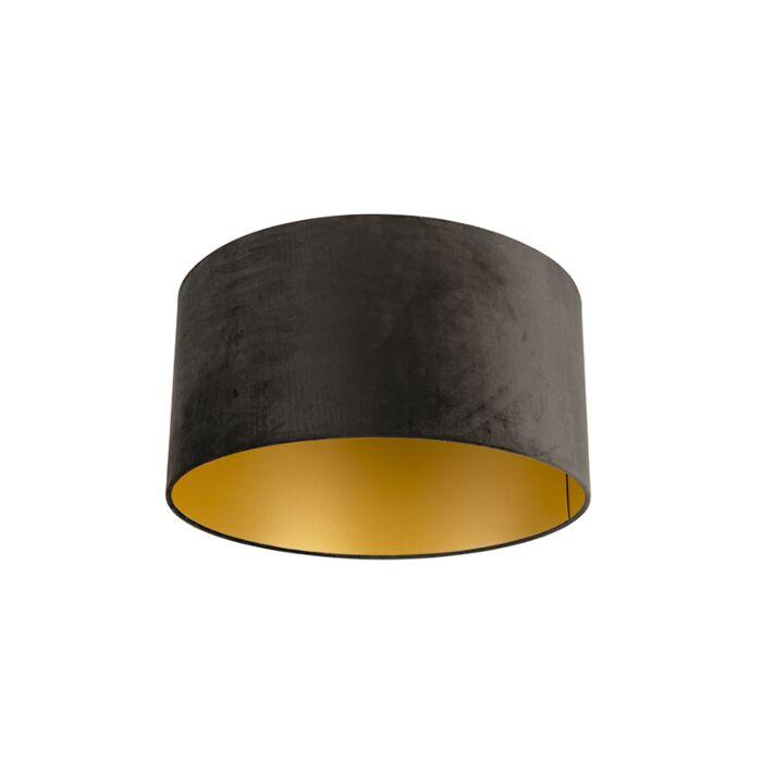 Velours-lampenkap-zwart-50/50/25-met-gouden-binnenkant