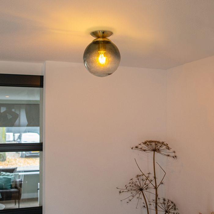 Art-deco-plafondlamp-messing-met-oceaanblauw-glas---Pallon