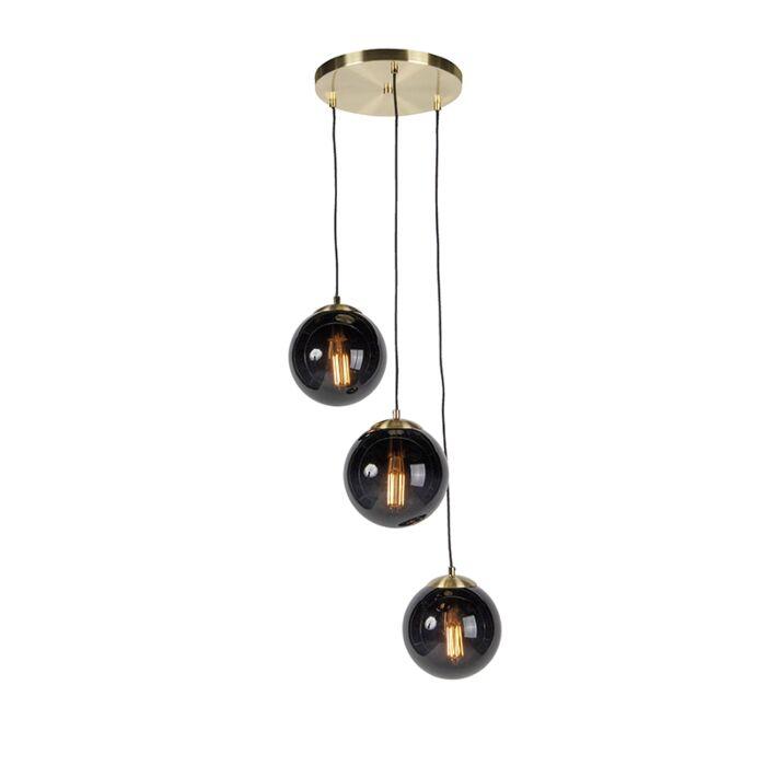 Art-deco-hanglamp-messing-met-zwarte-glas-3-lichts---Pallon
