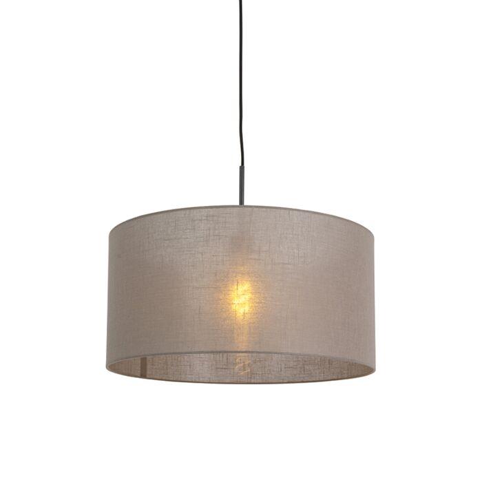 Landelijke-hanglamp-zwart-met-taupe-kap-50-cm---Combi-1