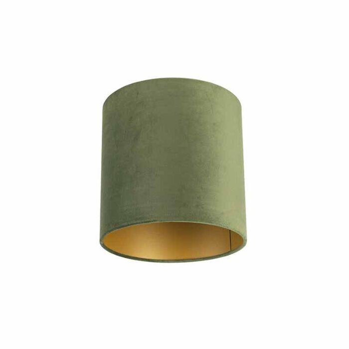 Velours-lampenkap-groen-25/25/25-met-gouden-binnenkant