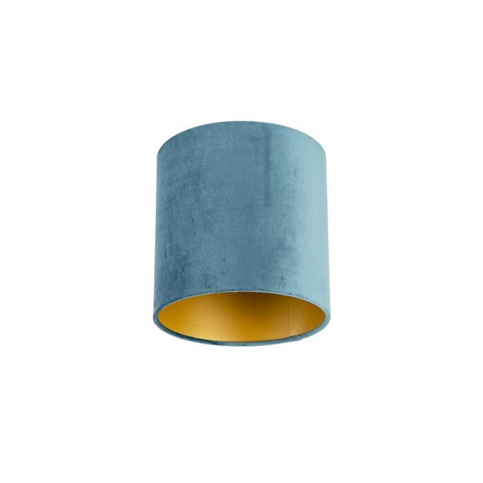 Velours-lampenkap-blauw-20/20/20-met-gouden-binnenkant