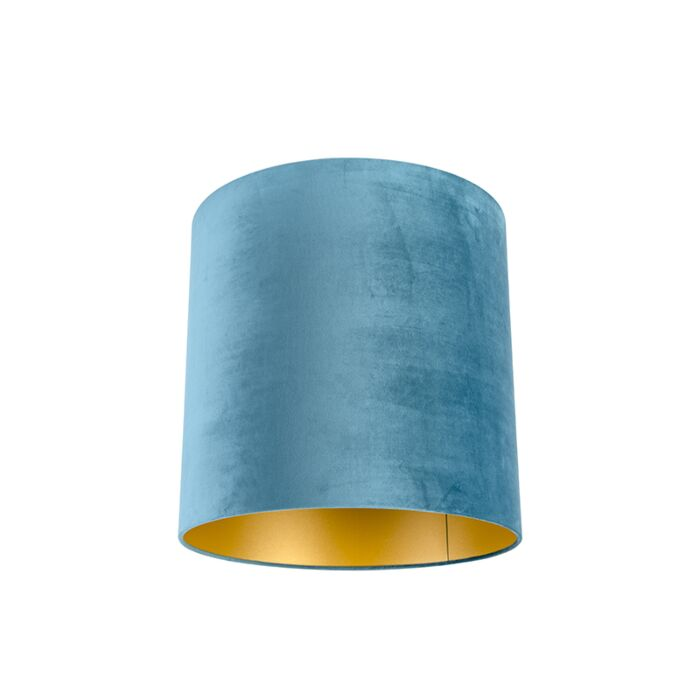 Velours-lampenkap-blauw-40/40/40-met-gouden-binnenkant