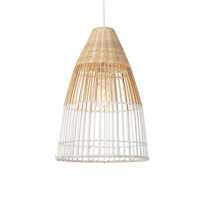 Landelijke-hanglamp-bamboe-en-wit---Bamboo