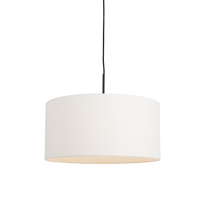Moderne-hanglamp-zwart-met-witte-kap-50-cm---Combi-1