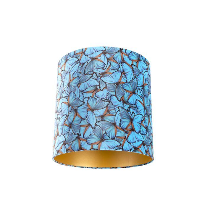 Velours-lampenkap-vlinder-dessin-40/40/40-gouden-binnenkant