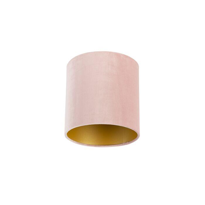 Velours-lampenkap-roze-20/20/20-met-gouden-binnenkant