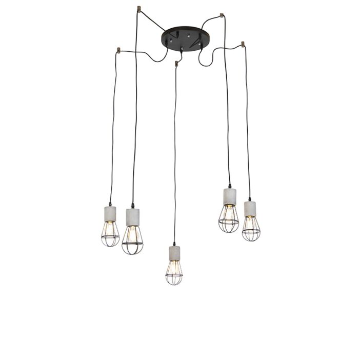Industriele-hanglamp-5-lichts-beton-met-zwart---Edison