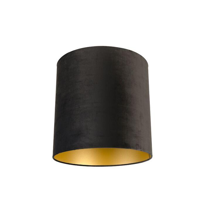 Velours-lampenkap-zwart-40/40/40-met-gouden-binnenkant
