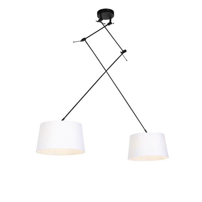 Hanglamp-met-linnen-kappen-wit-35-cm---Blitz-II-zwart