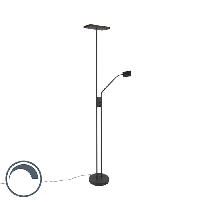 Design-uplighter-Jazzy-met-leeslamp-vierkant-zwart
