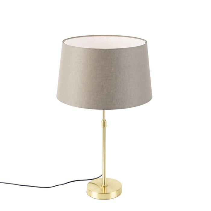 Tafellamp-goud/messing-met-linnen-kap-taupe-35-cm---Parte