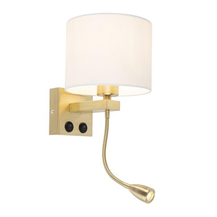 Moderne-wandlamp-Brescia-goud-met-witte-kap-18/18/14