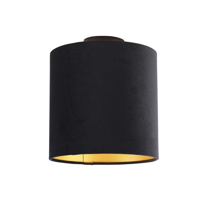 Plafondlamp-met-velours-kap-zwart-met-goud-25-cm---Combi-zwart
