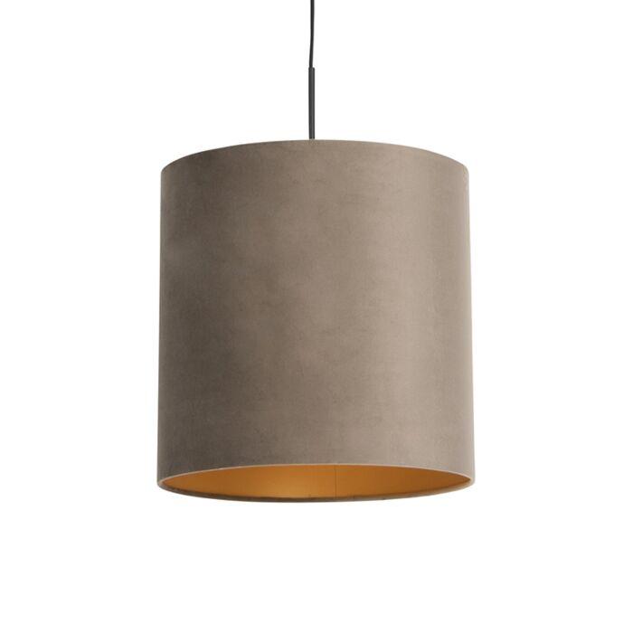 Hanglamp-met-velours-kap-taupe-met-goud-40-cm---Combi