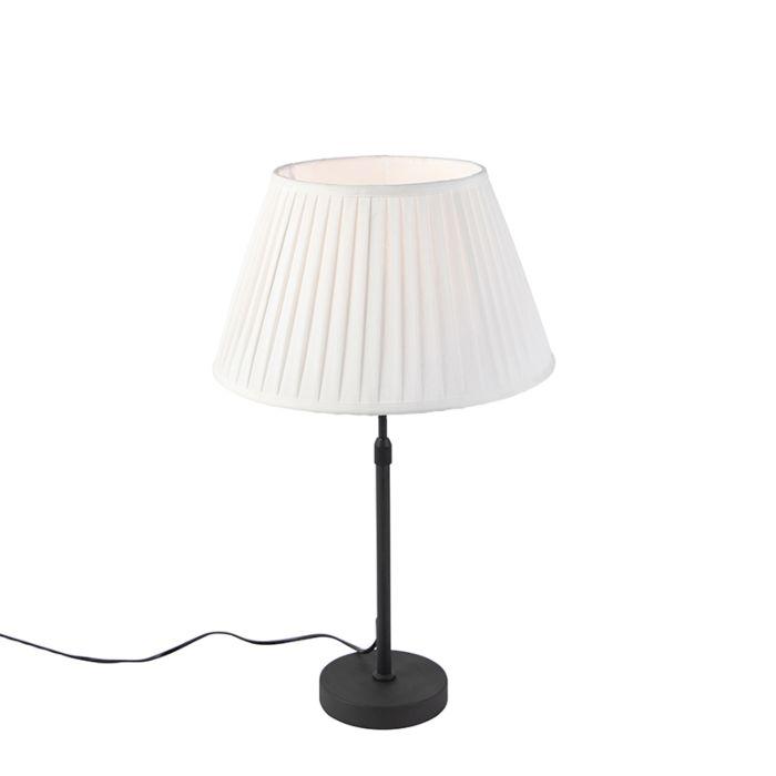 Tafellamp-zwart-met-plisse-kap-crème-35-cm-verstelbaar---Parte