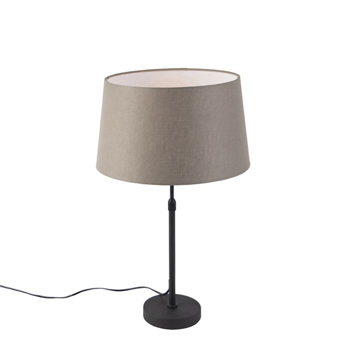 Tafellamp-zwart-met-linnen-kap-taupe-35-cm-verstelbaar---Parte