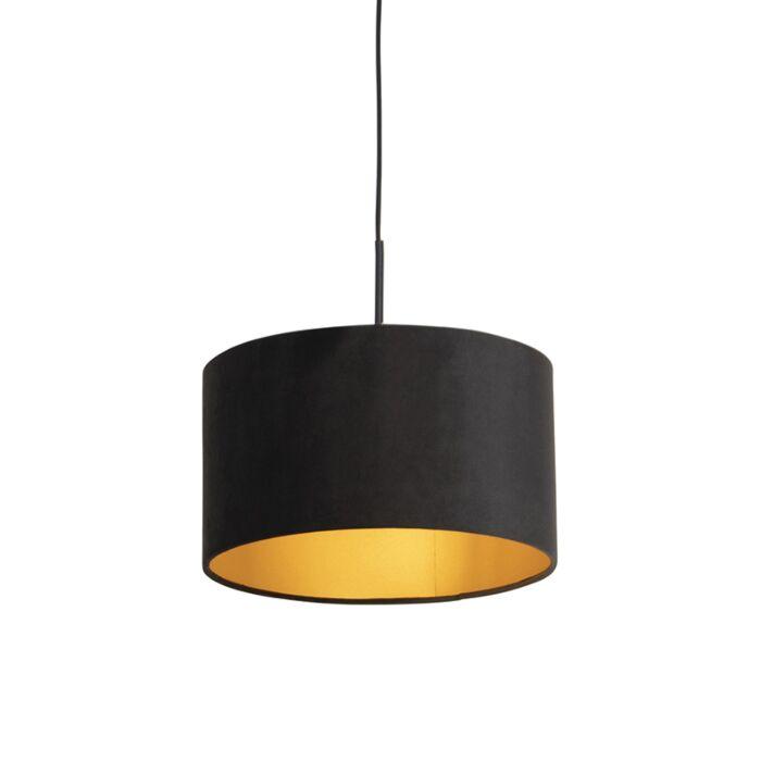 Zwarte-hanglamp-met-velours-kap-zwart-met-goud-35-cm---Combi