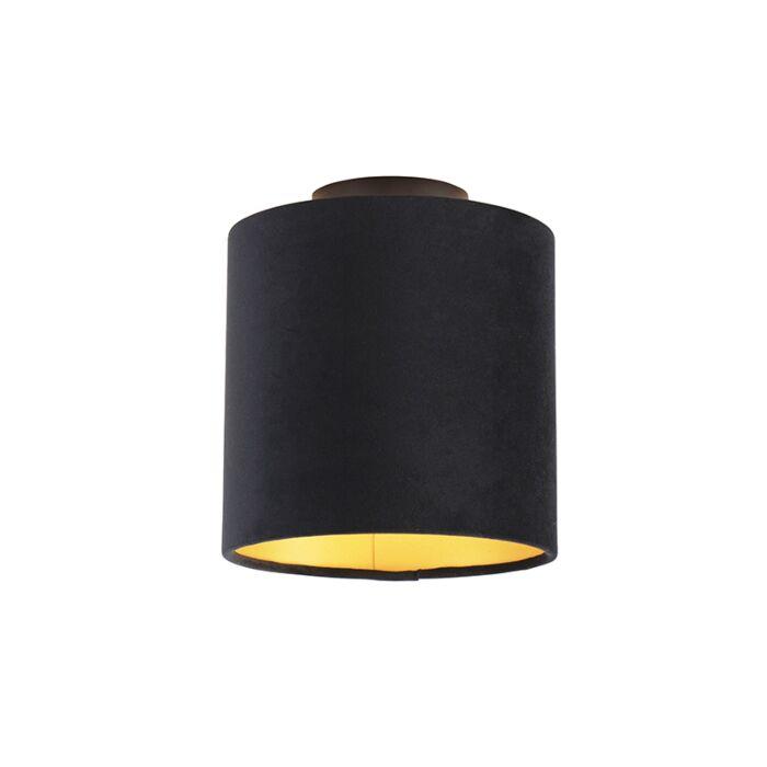 Plafondlamp-met-velours-kap-zwart-met-goud-20-cm---Combi-zwart