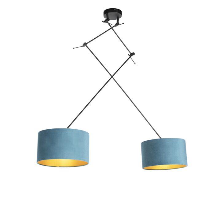 Hanglamp-met-velours-kappen-blauw-met-goud-35-cm---Blitz-II-zwart