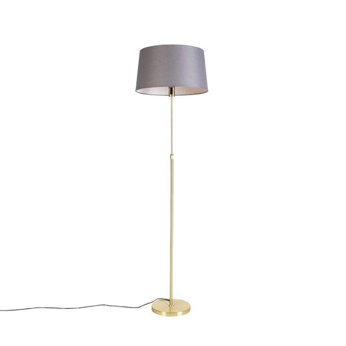 Vloerlamp-goud/messing-met-linnen-kap-grijs-45-cm---Parte
