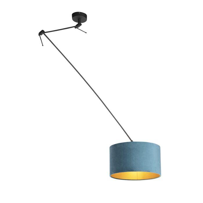 Hanglamp-met-velours-kap-blauw-met-goud-35-cm---Blitz-I-zwart