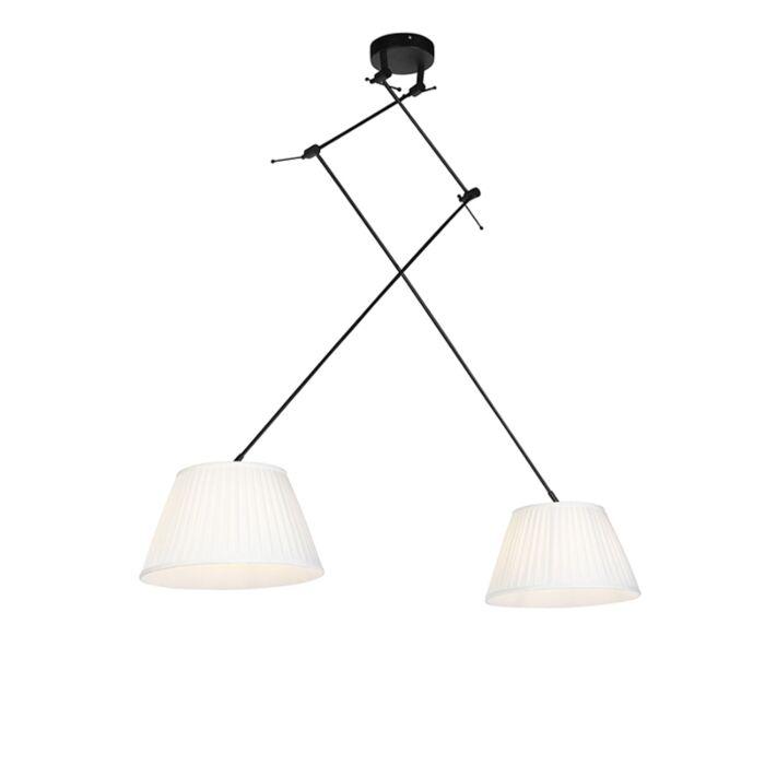 Hanglamp-met-plisse-kappen-crème-35-cm---Blitz-II-zwart