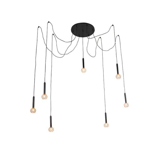 Hanglamp-zwart-met-koper-7-lichts---Mesh