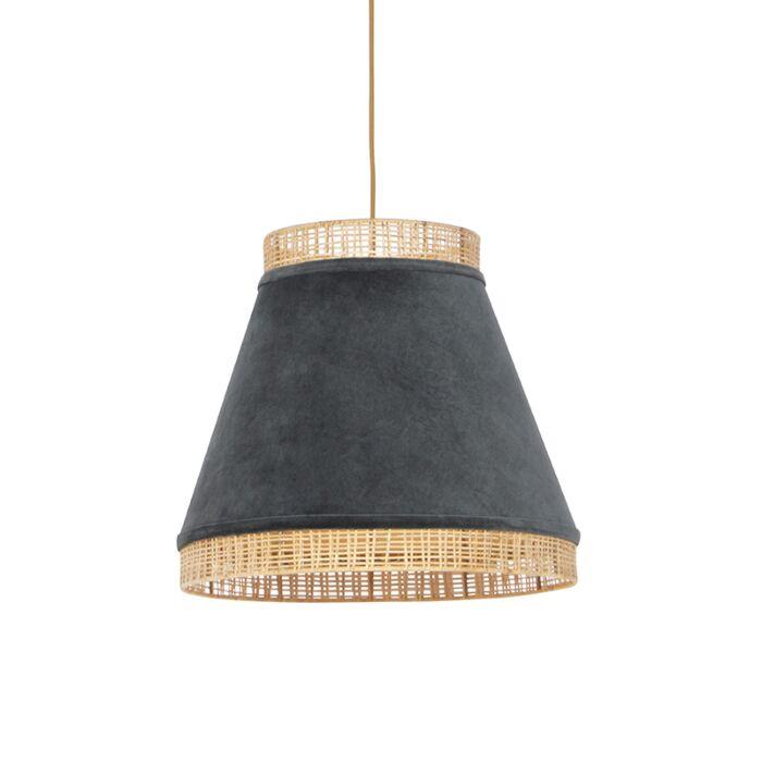 Landelijke-hanglamp-grijze-velours-met-riet-45-cm---Frills-Can