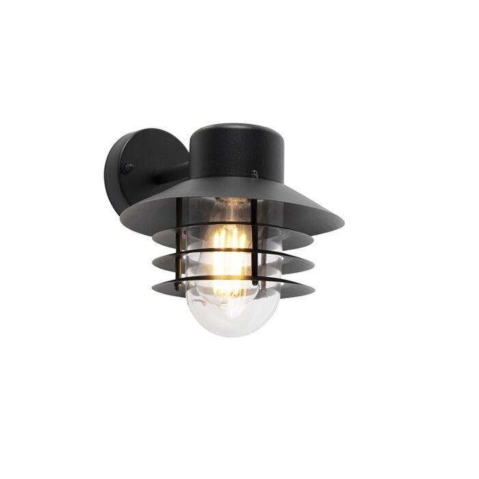 Moderne-buitenwandlamp-zwart-IP44---Prato-Down
