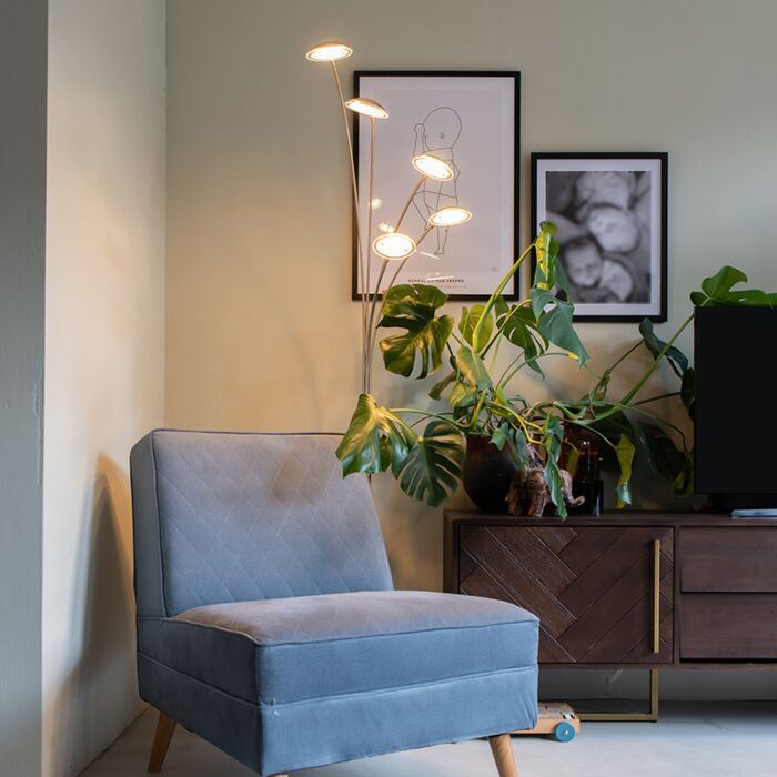 Design-vloerlamp-staal-5-lichts-incl.-LED---Sixties-Trento