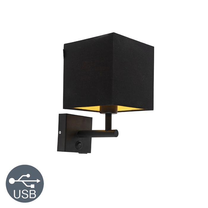 Wandlamp-zwart-met-USB-en-vierkante-zwarte-kap---Combi-1