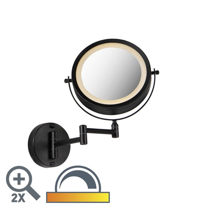 Ronde-make-up-wandspiegel-zwart-op-batterijen-x2---Vicino