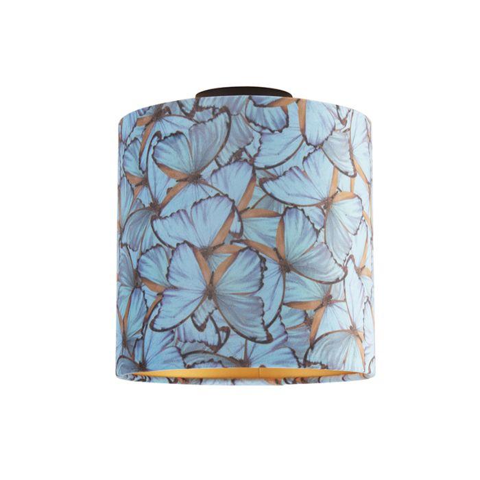 Plafondlamp-met-velours-kap-vlinders-met-goud-25-cm---Combi-zwart