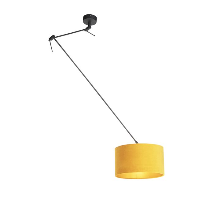Hanglamp-met-velours-kap-oker-met-goud-35-cm---Blitz-I-zwart