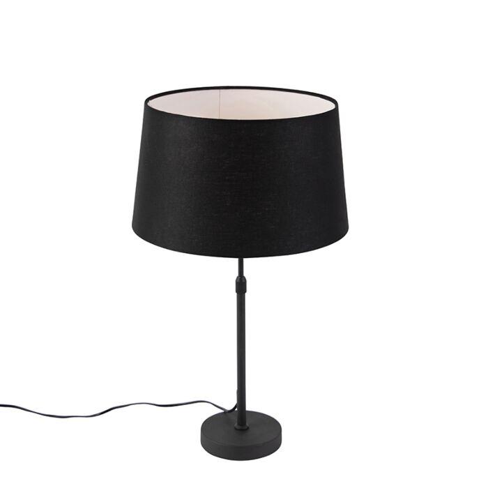 Tafellamp-zwart-met-linnen-kap-zwart-35-cm-verstelbaar---Parte