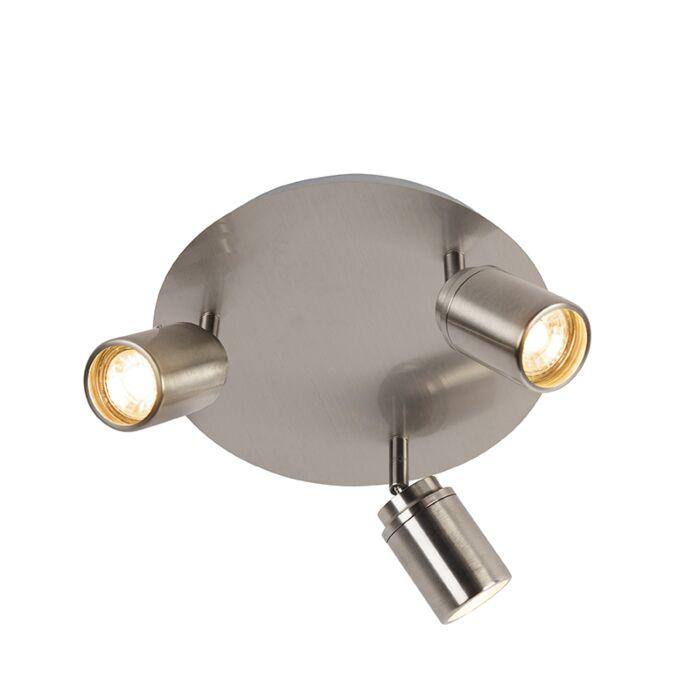 Moderne Badkamer Spot Staal 3 Lichts Ip44 Ducha Lampenlicht