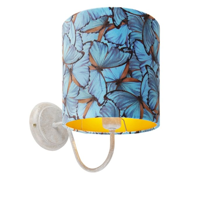 Klassieke-wandlamp-wit-met-vlinder-velours-kap---Matt