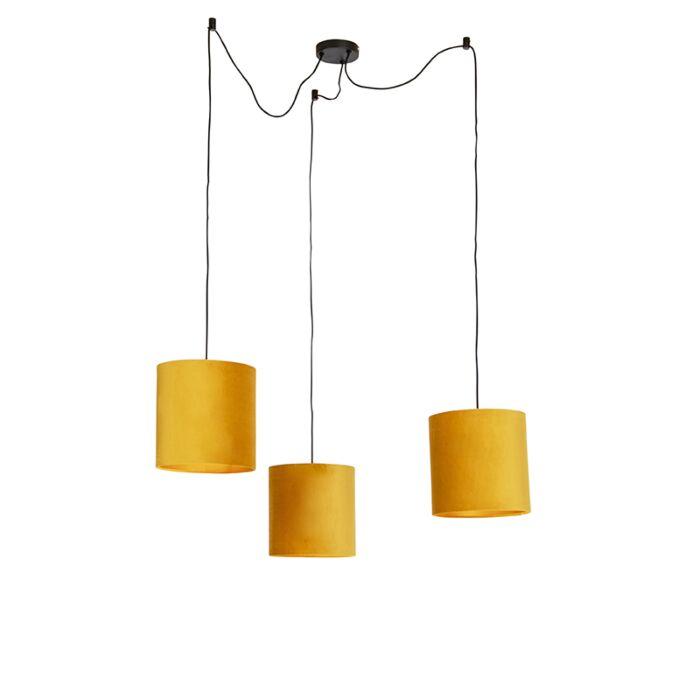 Hanglamp-met-3-velours-kappen-geel-met-goud---Cava