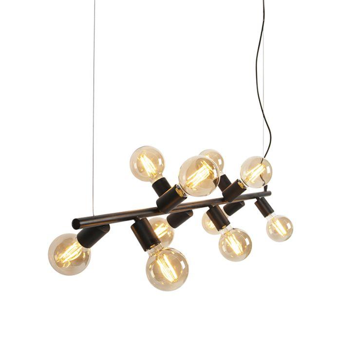 Scandinavische-hanglamp-zwart-10-lichts---Facil-Tube