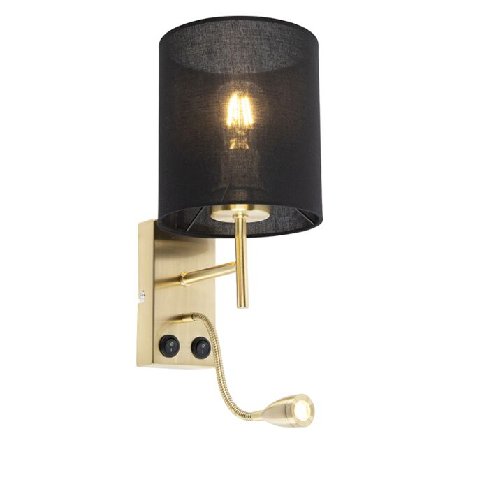 Art-Deco-wandlamp-goud-met-katoenen-zwarte-kap---Stacca